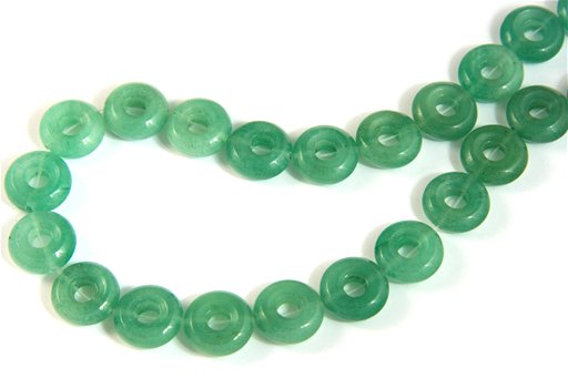 Green Aventurine, 14mm, Donut Shape Beads