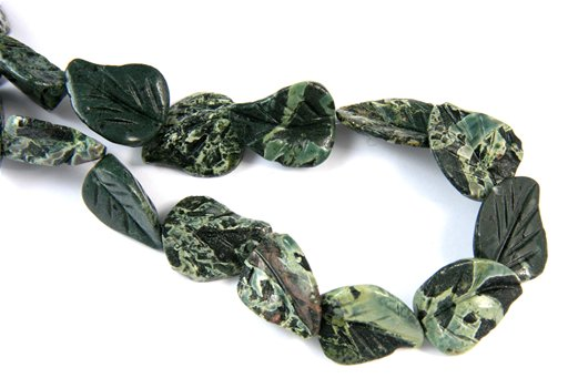 Green Cloud Jasper, 18x22mm, Carved Wavy Leaf Shape Beads