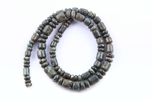 Green Cloud Jasper, 6-8mm, Barrel Rondelle Assorted Shape Beads