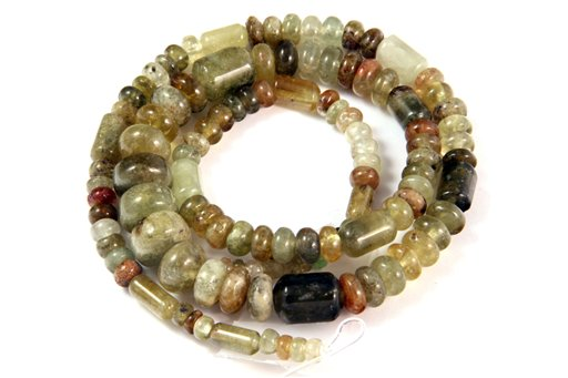 Green Garnet, 3-10mm, Barrel Rondelle Assorted Shape Beads