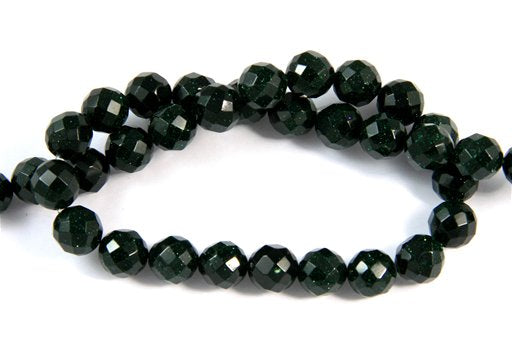 Green Gold Stone, 10mm, Faceted Round Shape Beads