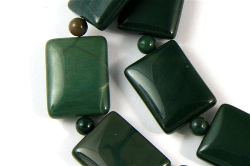Green Imperial Jasper, 15x20mm, Puff Rectangle Shape Beads