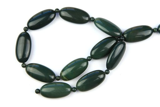 Green Imperial Jasper, 15x30mm, Long Oval Shape Beads