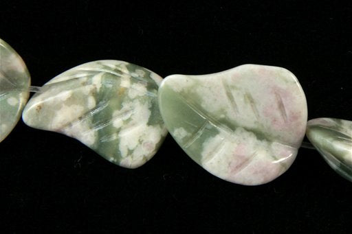 Green May Flower, 18x22mm, Carved Wavy Leaf Shape Beads