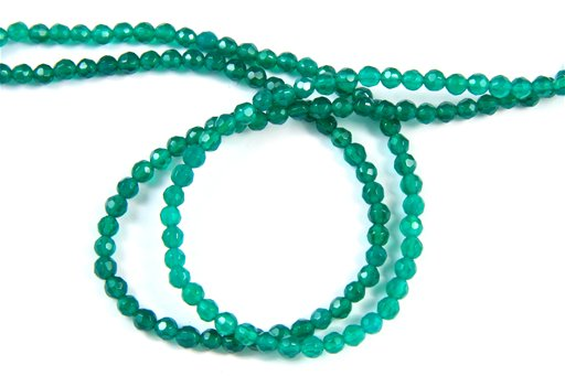 Green Onyx, 4mm, Faceted Round Shape Beads