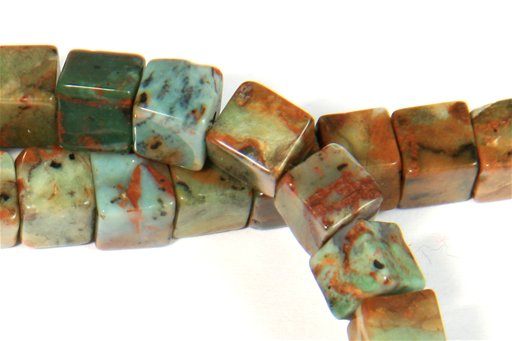 Green Opal, 6mm, Cube Shape Beads