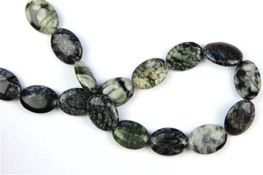 Green Picasso Jasper, 18x25mm, Oval Shape Beads