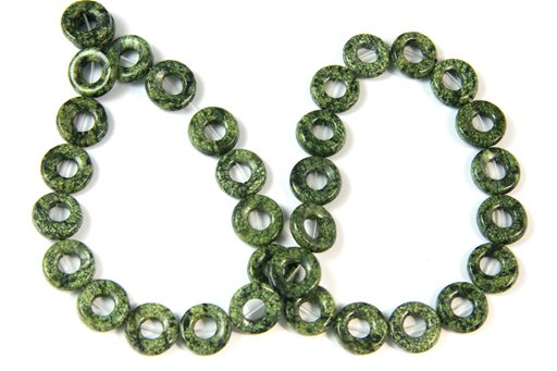 Green Sediment, 12mm, Donut Shape Beads