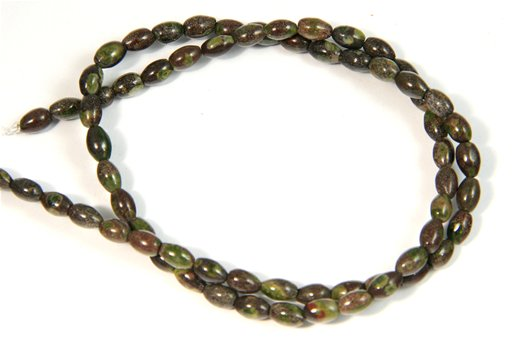 Green Spot Jasper, 4x6mm, Rice Shape Beads