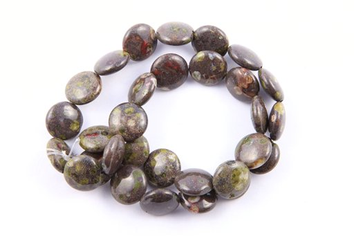 Green Spot Jasper, 14mm, Coin Shape Beads