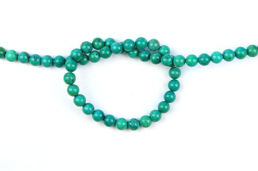 Green Turquoise (Genuine), 6mm, Round Shape Beads