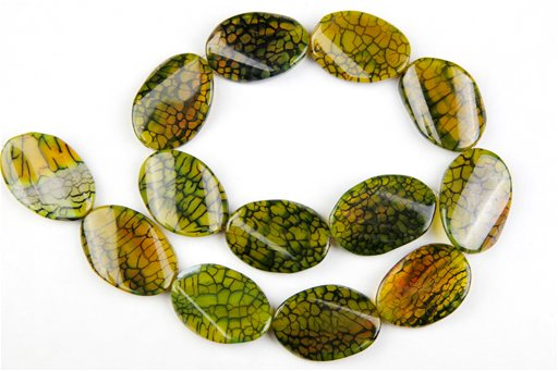 Green Web Agate, 20x30mm, Twisted Oval Shape Beads