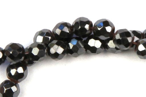 Hematite, 4mm, Faceted Round Shape Beads