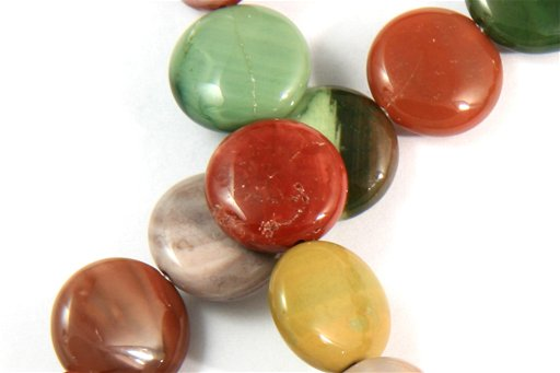 Imperial Jasper, 12mm, Coin Shape Beads