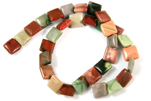 Imperial Jasper, 12mm, Puff Square Shape Beads
