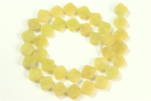 Lemon Stone, 10mm, Flat Diamond Shape Beads
