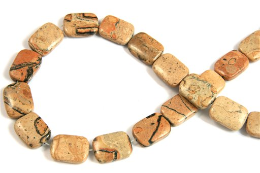 Madagascar Leopardskin, 13x18mm, Puff Rectangular Shape Beads