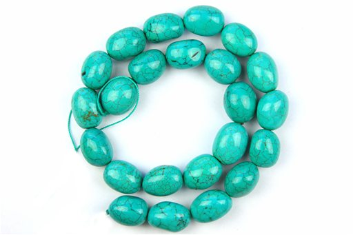 Magnesite Turquoise (Blue-Green), 13x18mm, Irregular Rice Shape Beads