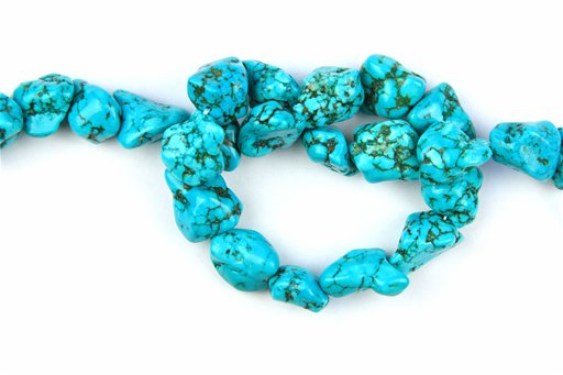 Magnesite Turquoise (Blue), 16x22mm, Nugget Shape Beads