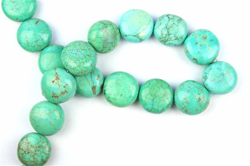 Magnesite Turquoise (Green), 25mm, Coin Shape Beads
