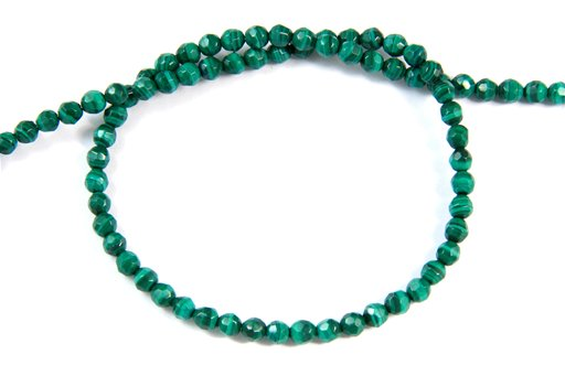 Malachite, 4mm, Faceted Round Shape Beads
