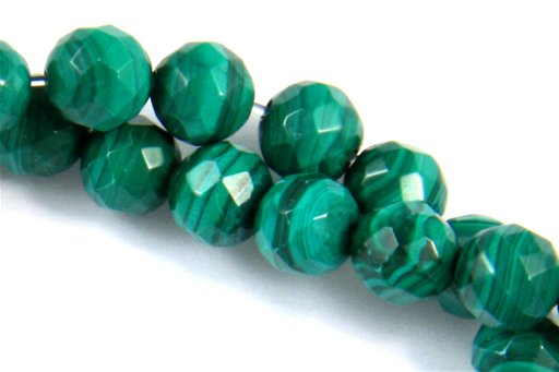 Malachite, 6mm, Faceted Round Shape Beads