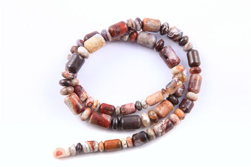 Mexican Crazy Lace, 6-8mm, Barrel Rondelle Assorted Shape Beads