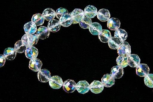 Mirrose Crystal (Synthetic), 8mm, Faceted Round Shape Beads