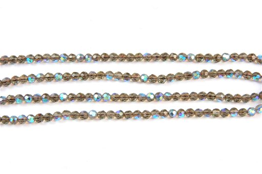 Mirrose Smokey Quartz (Synthetic), 4mm, Faceted Round Shape Beads