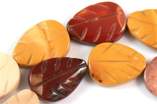 Mookite, 15x20mm, Carved Flat Leaf Shape Beads