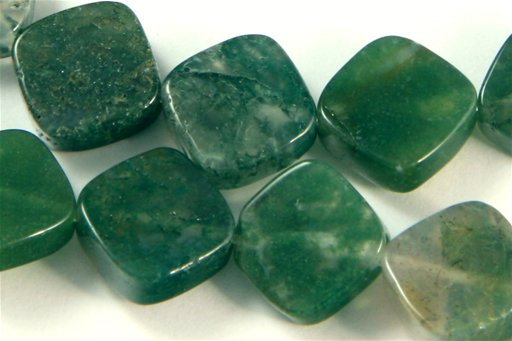 Moss Agate, 10mm, Flat Diamond Shape Beads