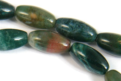 Moss Agate, 8x16mm, Rice Shape Beads