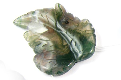 Moss Agate, 35x40mm, Carved Leaf Shape Pendant