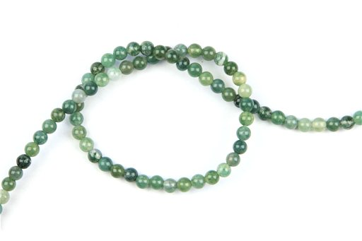 Moss Agate, 4mm, Round Shape Beads