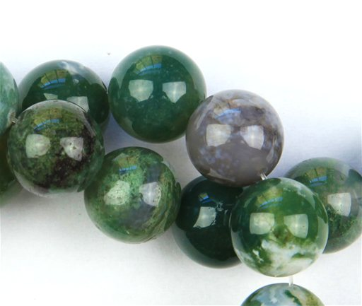 Moss Agate, 12mm, Round Shape Beads