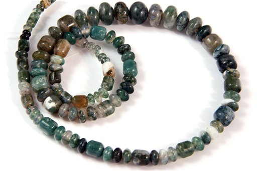 Moss Agate, 3-10mm, Barrel Rondelle Assorted Shape Beads