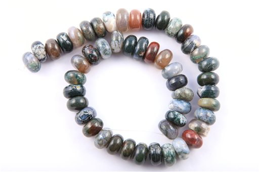 Moss Agate, 14mm, Rondelle Shape Beads