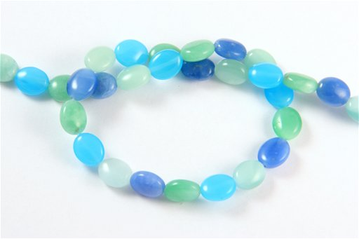 Multi Blue Quartz, 8x10mm, Oval Shape Beads