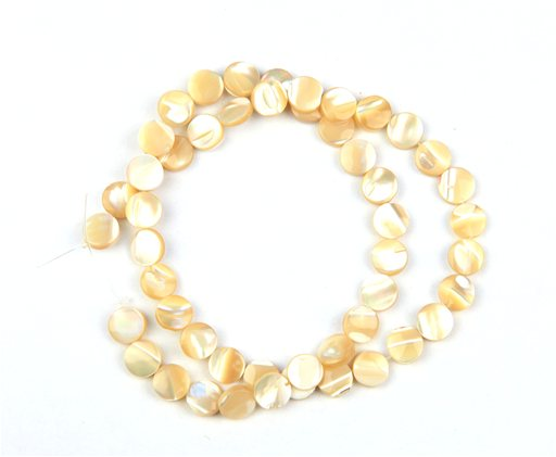 Natural Mother of Pearl, 8mm, Coin Shape Beads