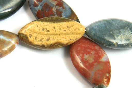 Ocean Jasper, 15x30mm, Marquis Shape Beads