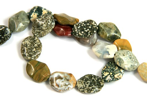 Ocean Jasper, 15x20mm, Wavy Oval Shape Beads