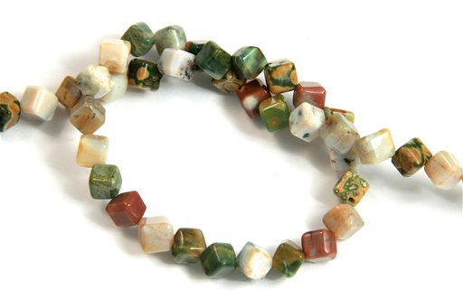 Ocean Jasper, 6mm, Cube Point to Point Shape Beads