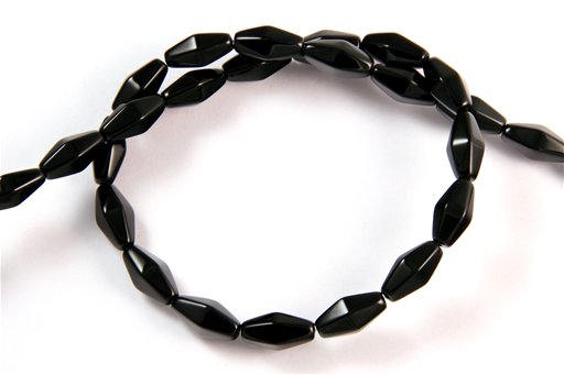 Black Onyx, 6x12mm, 12 Side Rice Shape Beads