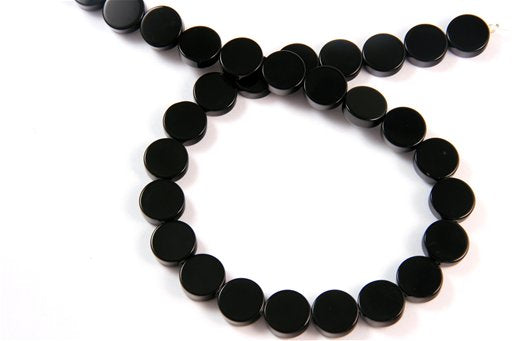 Black Onyx, 12mm, Dime Shape Beads
