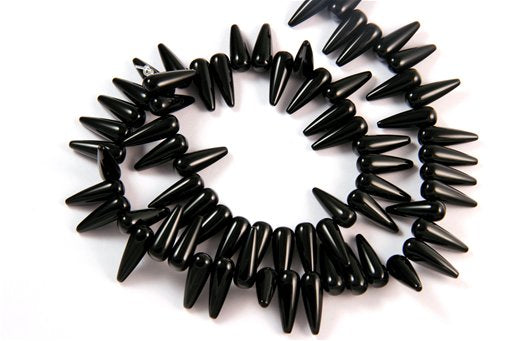 Black Onyx, 6x16mm, Tear Drop Side Drill Shape Beads