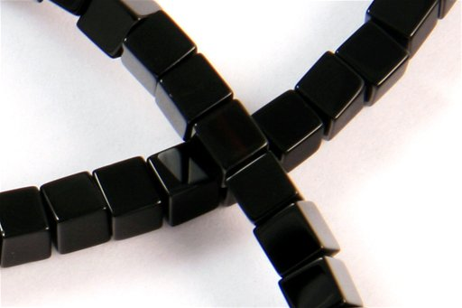 Black Onyx, 4mm, Cube Shape Beads