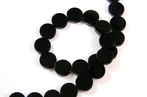 Black Onyx, 16mm, Dime Shape Beads