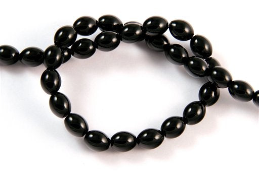 Black Onyx, 8x10mm, Rice Shape Beads