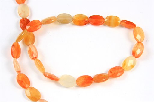 Orange Chalcedony, 10x14mm, Faceted Oval Shape Beads