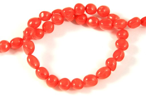 Orange Coral, Irregular 6x8mm, Nugget Shape Beads